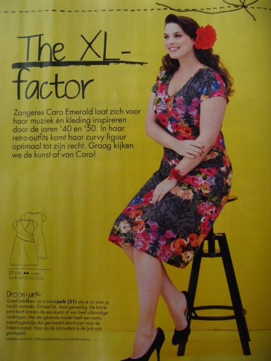One of the 4 plus-sized patterns inspired by singer Caro Emerald. Cute, simple jersey wrap dress. The one on the picture looks a bit  different from the tech drawing though.